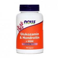 Glukozamin & Hondrotoin z MSM NOW, 90 kapsul