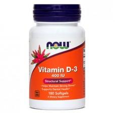 Now vitamin D-3 400 IE, 180 kapsul